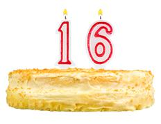 birthday cake with candles number sixteen isolated - stock photo