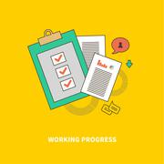 Stage of Business Process is Working Progress - stock illustration