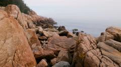 Rugged Foggy Coastline in Acadia National Park, Maine Stock Footage
