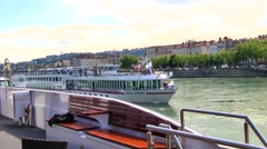 Re-positioning Cruise Ships on the Rhone River, Lyon, France Stock Footage
