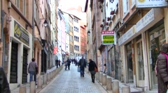 Street in the Art District, Lyon, France Stock Footage