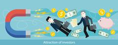 Attraction of Investors. Detailed Flat Web Banner - stock illustration