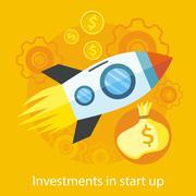 Launching New Product, Start up, Rocket Idea Icon - stock illustration