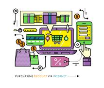 Purchasing, Delivery of Product via Internet - stock illustration
