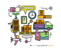 Delivery Service Aviation, Customs, Transport Stock Illustration