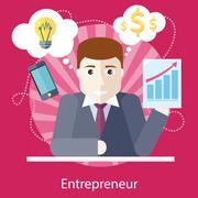 Entrepreneur Working on Freelance Project - stock illustration