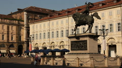 Horse statue in Piazza San Carlo in Turin, Italy Stock Footage