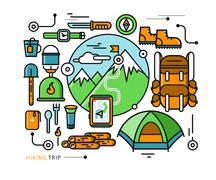 Mountains with Snow Peaks and Tourist Equipment Stock Illustration