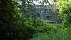 Castle in woods, set in trees, abandoned and overgrown - stock footage