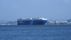 CAR TRANSPORT CARGO SHIP VESSEL in the middle of San Juan Harbor Stock Footage