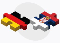 Germany and Serbia Flags - stock illustration