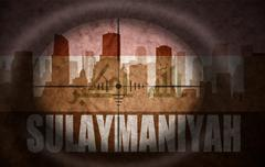 Stock Illustration of sniper scope aimed at the abstract silhouette of the city with text Sulaymani