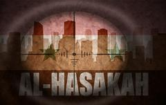 Stock Illustration of sniper scope aimed at the abstract silhouette of the city with text Al-Hasaka