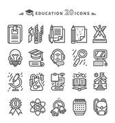 Set of Black Education Icons on White Background Stock Illustration