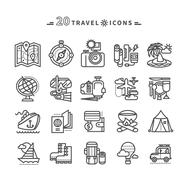 Set of Black Travel Icons on White Background - stock illustration