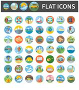 Icons of Traveling, Vacation, Tourism, Journey - stock illustration