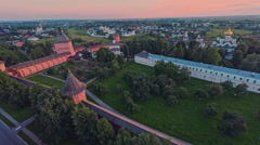 Russia, Suzdal, monastery of Saint Euthymius July 15, 2015 shooting (air) Stock Footage