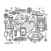 Mountains with Snow Peaks and Tourist Equipment - stock illustration