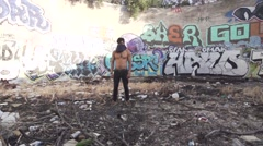 Martial Arts Tricking Kick in Grunge Graffiti Ruins - Shot in Super Slow Motion Stock Footage