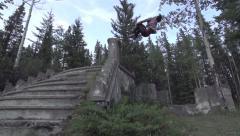 Cast Away Backflip Off Grunge Ruins - Parkour / Freerunning Stock Footage