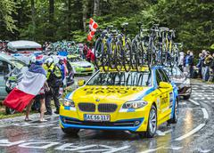 The Team Car of Thinkoff Saxo During le Tour de France 2014 - stock photo