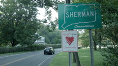 Sherman CT town sign, Connecticut tourism in country Stock Footage