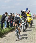 The cyclist Geraint Thomas - Paris Roubaix 2014 - stock photo