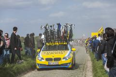 The Car of Tinkoff Saxo Team - Paris Roubaix 2014 Stock Photos