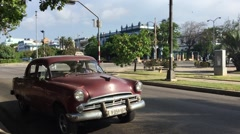 Old Chevrolet on Vedado district in Havana, Cuba. Stock Footage