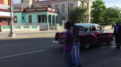 Old Cars on Vedado district in Havana, Cuba Stock Footage