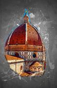 The Basilica di Santa Maria del Fiore, Florence, Italy - stock illustration