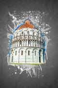 Baptistery, Pisa, Italy Stock Illustration