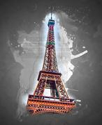 Eiffel tower at dusk - stock illustration
