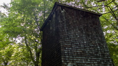 Stock Video Footage of Wooden Tower in forest, abandoned structure, spooky woods