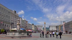 4K time-lapse footage of the Hauptplatz (Main Square) in Linz, Austria - stock footage