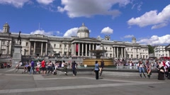 Trafalgar Square (in 4K) & the National Gallery, London, UK. Stock Footage