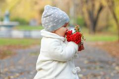 Little cute girl in white eats red rowanberry in autumn park Stock Photos