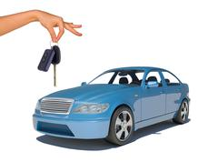 Hand holding keys and blue car - stock photo