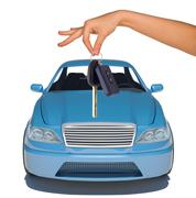 Humans hand with keys and blue car - stock photo