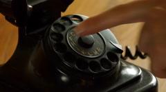 Old fashioned telefon - Man dials Stock Footage