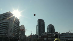Inner city basketball 3 point shot 2 Stock Footage