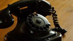 Vintage black telephone - Man dials Stock Footage
