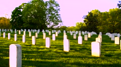 Arlington National Cemetery panning shot at sun down - stock footage