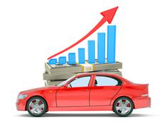 Red car with money and graph - stock illustration