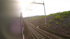 Train wide angle view out the window Stock Footage