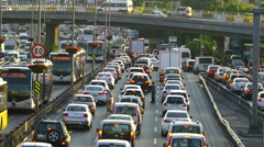 Traffic congestion on highways many people travel to other cities - stock footage