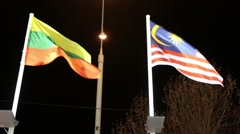Flags of Lithuania and Malaysia with illumination on wind at dark night Stock Footage