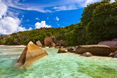 Famous beach Source d'Argent at Seychelles - stock photo