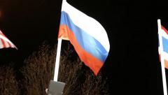 Flags of Russia with illumination and trees on wind at dark night - stock footage
