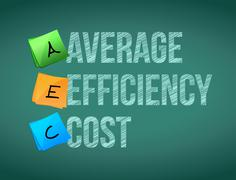 Stock Illustration of average efficiency cost post board